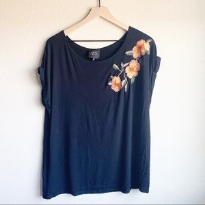Anthropologie W5 black embroidered flower top